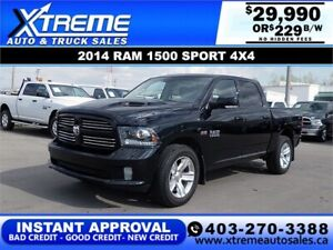 2014 RAM 1500 SPORT CREW *INSTANT APPROVAL* $0 DOWN $229/BW!