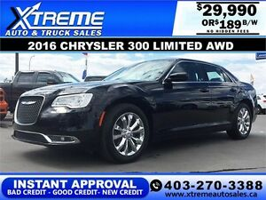 2016 Chrysler 300 Limited AWD Fully Loaded $189 b/w DRIVE TODAY