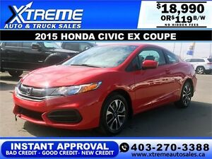 2015 Honda Civic EX Coupe Camera $119 b/w APPLY NOW DRIVE NOW