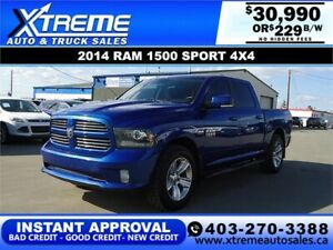 2014 DODGE RAM SPORT CREW *INSTANT APPROVAL* $0 DOWN $229/BW