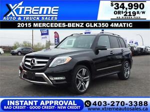 2015 MERCEDES-BENZ GLK350 4MATIC $219 B/W APPLY NOW DRIVE NOW
