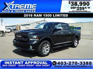 2016 RAM 1500 LIMITED CREW *INSTANT APPROVAL* $0 DOWN $269/BW