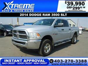 2014 RAM 3500 SLT CREW CAB *INSTANT APPROVAL* $0 DOWN $299/BW