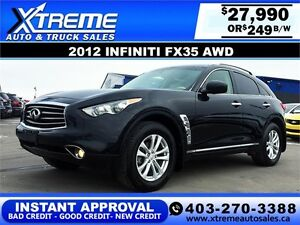 2012 Infiniti FX35 AWD $249 bi-weekly APPLY NOW DRIVE NOW