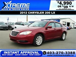 2012 CHRYSLER 200 LX  *INSTANT APPROVAL* $0 DOWN $39/BW!