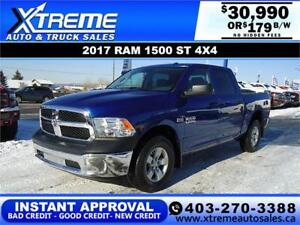 2017 RAM 1500 ST CREW CAB 4X4 *INSTANT APPROVAL* $179/BW!