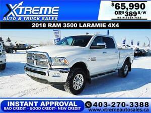 2018 RAM 3500 LARAMIE CREW *INSTANT APPROVAL* $0 DOWN $389/BW!