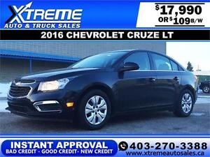 2016 Chevrolet Cruze LT Low KM! $109 b/w APPLY NOW DRIVE NOW