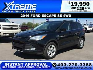 2016 FORD ESCAPE SE 4WD $129 *$0 DOWN* BI-WEEKLY APPLY NOW