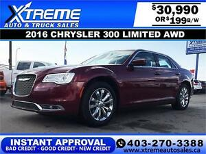 2016 Chrysler 300 AWD $199 bi-weekly APPLY NOW DRIVE NOW