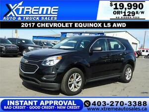 2017 CHEVROLET EQUINOX LS AWD *INSTANT APPROVAL* $0 DOWN $129/BW