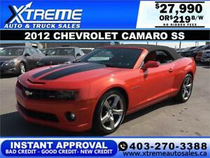 2012 CHEVROLET CAMARO SS CONVERTIBLE $219 B/W APPLY NOW