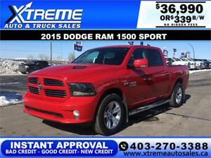 2015 RAM 1500 SPORT CREW *INSTANT APPROVAL $0 DOWN $339/BW