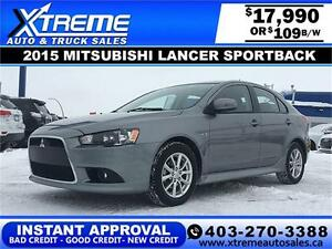 2015 Mitsubishi Lancer Sportback $109 B/W APPLY NOW DRIVE NOW