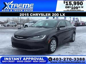 2015 CHRYSLER 200 LX $109 bi-weekly APPLY NOW DRIVE NOW