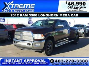 2012 RAM 3500 LONGHORN MEGA CAB DUALLY *INSTANT APPROVAL $409/BW