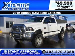 2012 RAM 3500 LARAMIE LIFTED *INSTANT APPROVAL* $0 DOWN $429/BW!