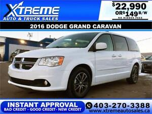 2016 Dodge Grand Caravan SXT $149 bi-weekly APPLY NOW DRIVE NOW