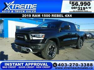 2019 RAM 1500 REBEL CREW CAB *INSTANT APPROVAL* $319/BW!