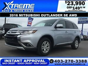 2016 Mitsubishi Outlander SE AWD $149 b/w APPLY NOW DRIVE NOW