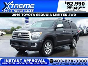 2016 TOYOTA SEQUOIA LIMITED 4WD $349 B/W APPLY TODAY DRIVE TODAY