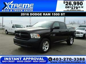 2016 DODGE RAM 1500 ST CREW *INSTANT APPROVAL* $0 DOWN $179/BW!