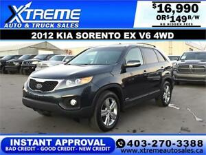2012 KIA SORENTO EX V6 4WD $159 BI-WEEKLY APPLY NOW DRIVE NOW