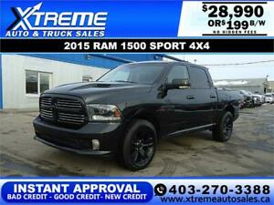 2015 RAM 1500 SPORT CREW CAB *INSTANT APPROVAL* $0 DOWN $199/BW
