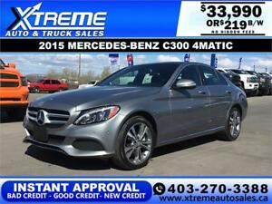 2015 MERCEDES-BENZ C300 4MATIC $219 B/W APPLY NOW DRIVE NOW