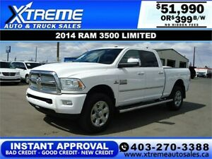2014 RAM 3500 LIMITED CREW *INSTANT APPROVAL* $0 DOWN $399/BW