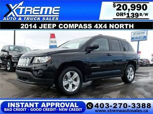 2014 Jeep Compass North 4x4 $139 bi-weekly APPLY NOW DRIVE NOW