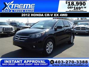 2012 HONDA CR-V EX 4WD $229 B/W *$0 DOWN* APPLY NOW DRIVE NOW