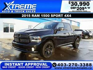 2015 RAM 1500 SPORT CREW CAB *INSTANT APPROVAL $0 DOWN $209 BW