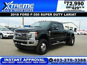 2018 FORD F-350 SD LARIAT DUALLY  *INSTANT APPROVAL $429/BW!