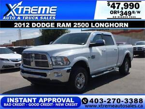2012 DODGE RAM 2500 LONGHORN *INSTANT APPROVAL* $0 DOWN $349/BW!