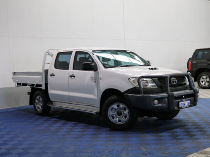 2010 Toyota Hilux KUN26R MY11 Upg SR (4x4) White 5 Speed Manual Dual C/Chas