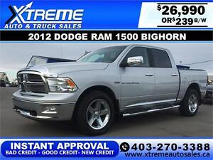 2012 RAM 1500 BIGHORN CREW *INSTANT APPROVAL* $0 DOWN $249/BW!