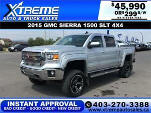 2015 GMC SIERRA 1500 LIFTED *INSTANT APPROVAL* $0 DOWN $299/BW