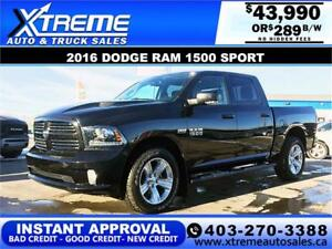 2016 DODGE RAM SPORT CREW *INSTANT APPROVAL* $0 DOWN $289/BW!