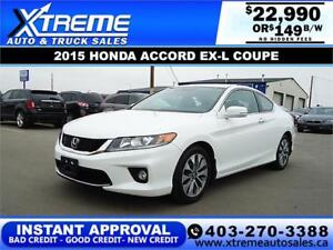 2015 HONDA ACCORD EX-L COUPE $149 Bi-Weekly APPLY NOW DRIVE NOW
