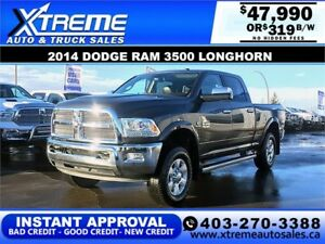 2014 RAM 3500 LONGHORN CREW *INSTANT APPROVAL* $0 DOWN $319/BW