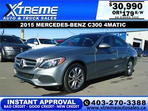 2015 MERCEDES-BENZ C300 4MATIC $179 B/W! *$0 DOWN* APPLY NOW
