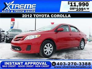 2012 Toyota Corolla $119 bi-weekly APPLY NOW DRIVE NOW