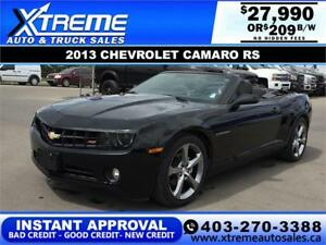 2013 CHEVROLET CAMARO CONVERTIBLE $209 B/W *$0 DOWN* APPLY NOW