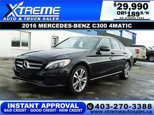 2016 MERCEDES-BENZ C300 4MATIC $189 B/W APPLY NOW DRIVE NOW