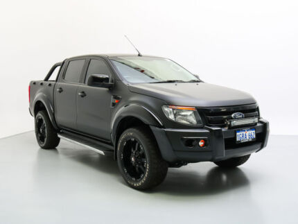 2014 Ford Ranger PX XL 2.2 (4x4) Matte Black 6 Speed Automatic Crew Cab Utility Jandakot Cockburn Area Preview