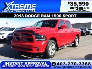 2013 RAM 1500 SPORT CREW $0 DOWN *INSTANT APPROVAL* $269/BW!