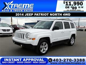 2014 JEEP PATRIOT NORTH 4WD  *INSTANT APPROVAL* $89/BW!