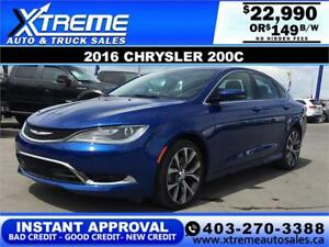 2016 Chrysler 200C Panoramic Sunroof $0 Down $149 APPLY NOW