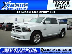 2014 RAM 1500 SPORT CREW CAB *INSTANT APPROVAL* $0 DOWN $219 /BW